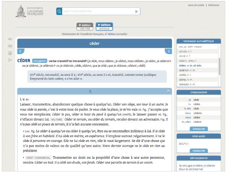 Le Dictionnaire De L Academie Francaise Mis En Ligne Le Dicopathe